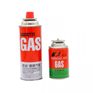 Metal Tinplate Manufacturers Camping Refill Butane Gas Cartridge with Valve and Cap